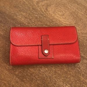 Dooney & Bourke Large Red Pebble Leather Wallet